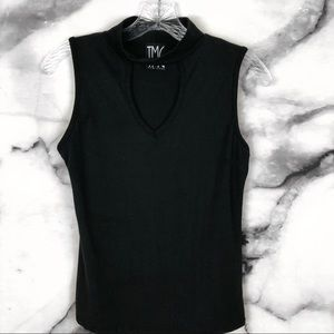 TMG New York Tops - [TMG NY] Black Front Cutout Choker Style Tank Top